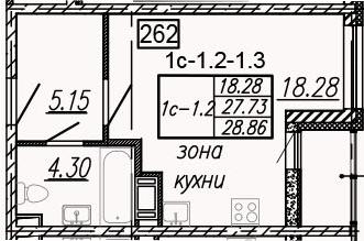 Студия, 29.98 м²