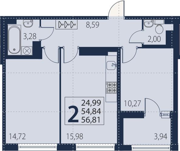 3-комнатная 58 м<sup>2</sup> на 19 этаже