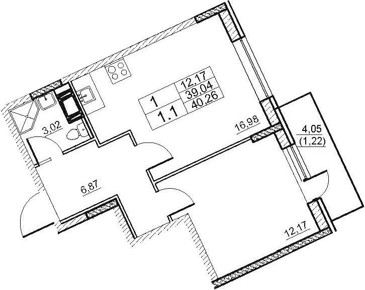 2-комнатная 43 м<sup>2</sup> на 9 этаже