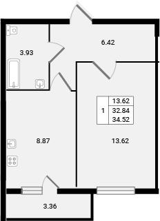 1-к.кв, 36.2 м²
