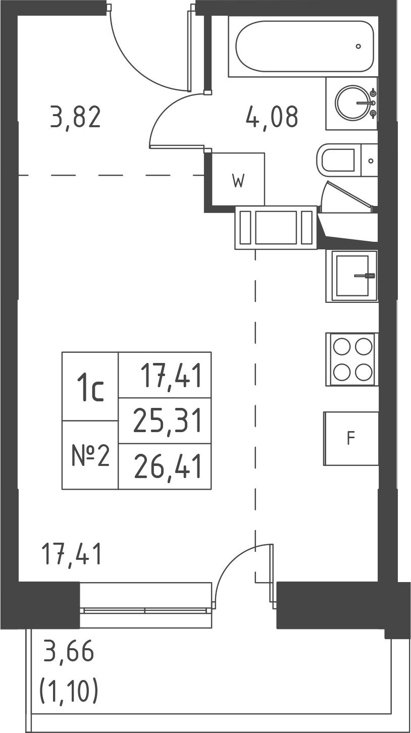 Студия, 28.98 м²