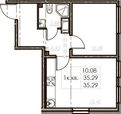 2-комнатная 35 м<sup>2</sup> на 25 этаже
