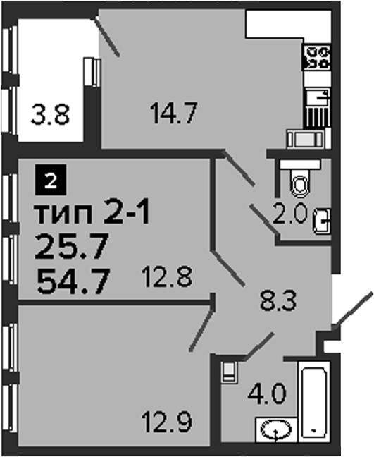 2-комнатная 58 м<sup>2</sup> на 7 этаже