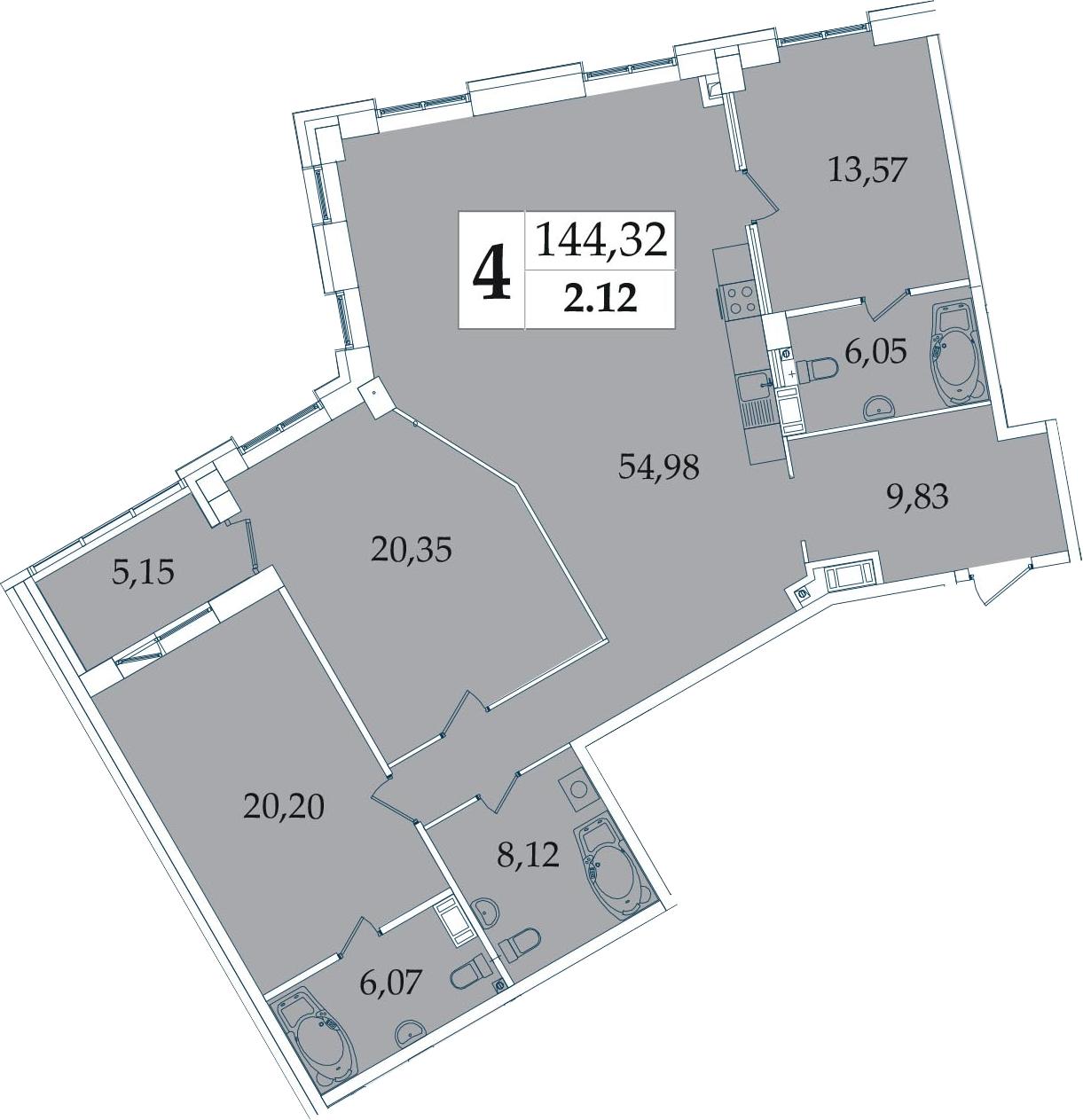 4-комнатная 144 м<sup>2</sup> на 2 этаже
