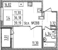 2-комнатная 39 м<sup>2</sup> на 10 этаже