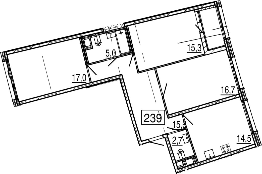 3-комнатная 90 м<sup>2</sup> на 11 этаже