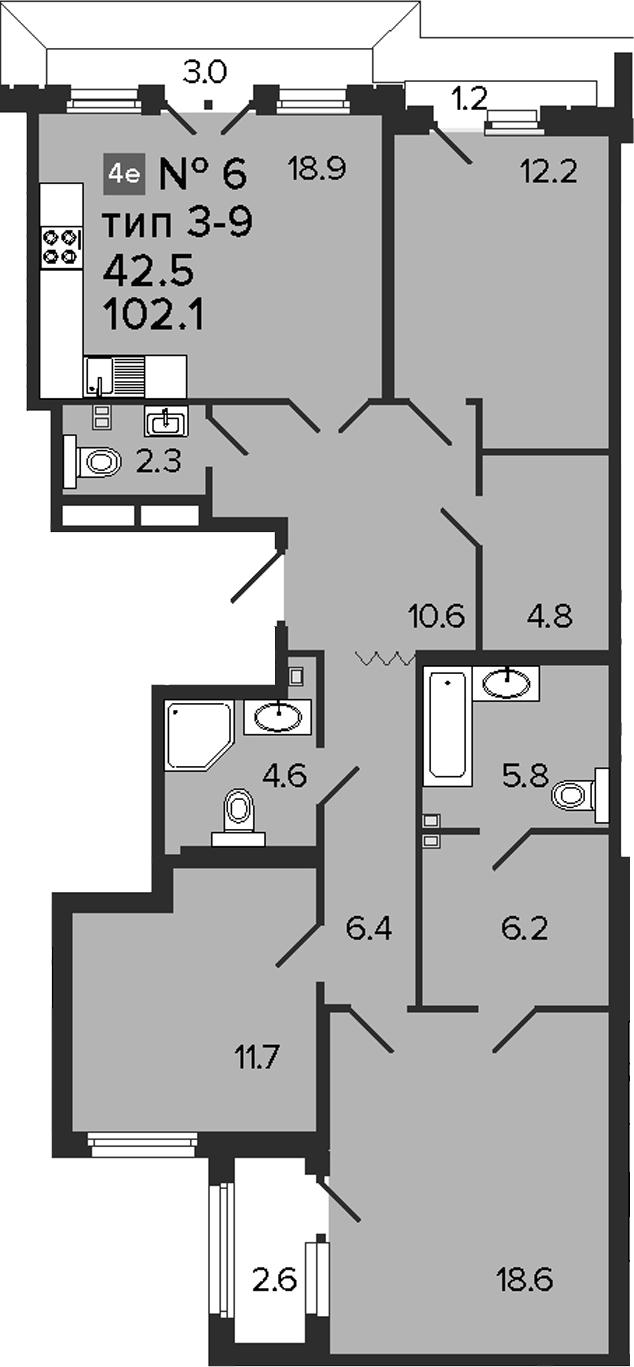 4-комнатная 108 м<sup>2</sup> на 4 этаже