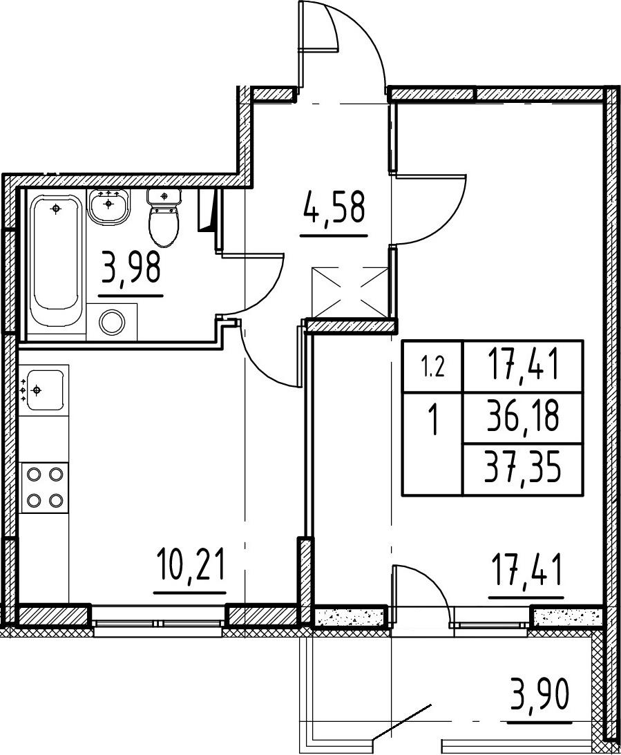 1-комнатная 40 м<sup>2</sup> на 1 этаже