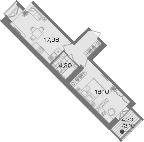 1-комнатная 51 м<sup>2</sup> на 3 этаже