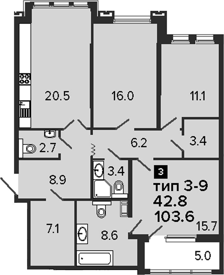 3-комнатная 108 м<sup>2</sup> на 3 этаже