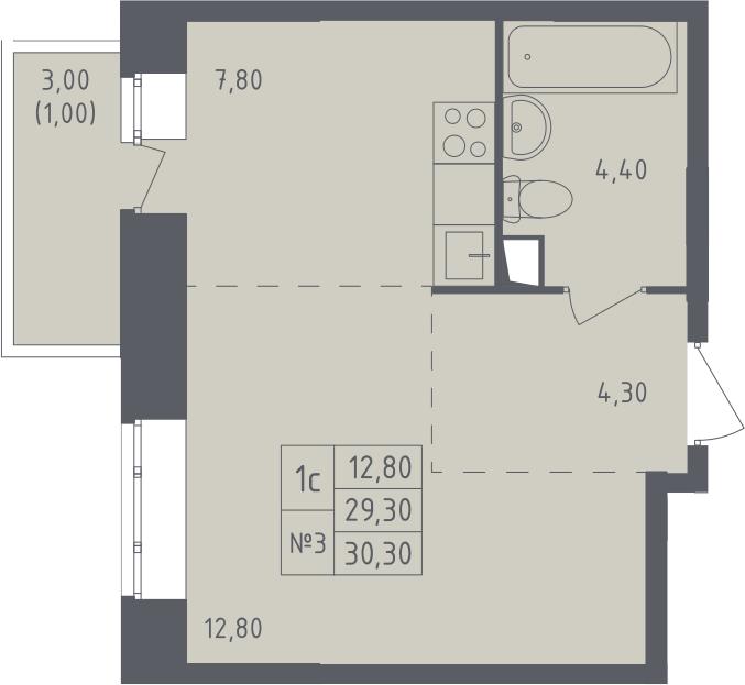 Студия, 31.3 м²