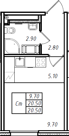 Студия 20 м<sup>2</sup> на 14 этаже