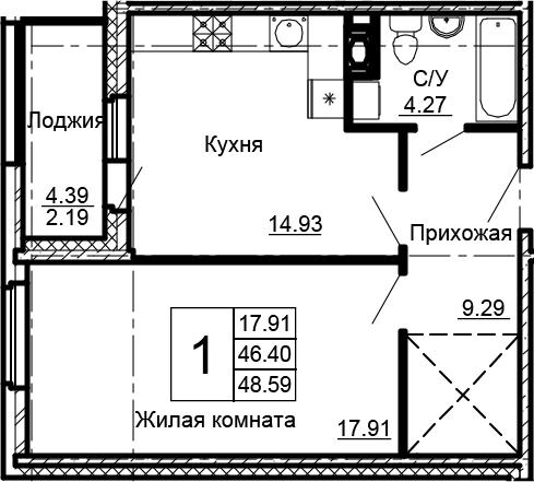 1-комнатная 50 м<sup>2</sup> на 12 этаже