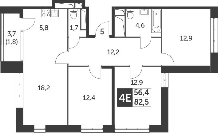 4-к.кв (евро), 84.3 м²