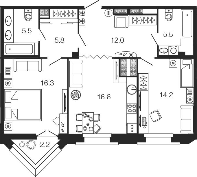 3-комнатная 78 м<sup>2</sup> на 6 этаже
