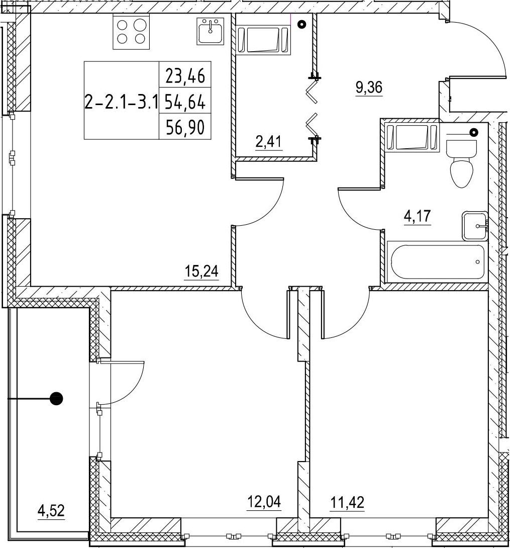 2-комнатная 59 м<sup>2</sup> на 19 этаже
