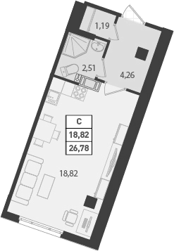 Студия 26 м<sup>2</sup> на 17 этаже