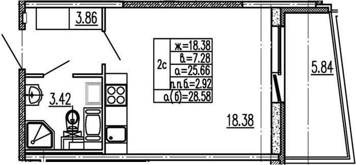 Студия 31 м<sup>2</sup> на 14 этаже