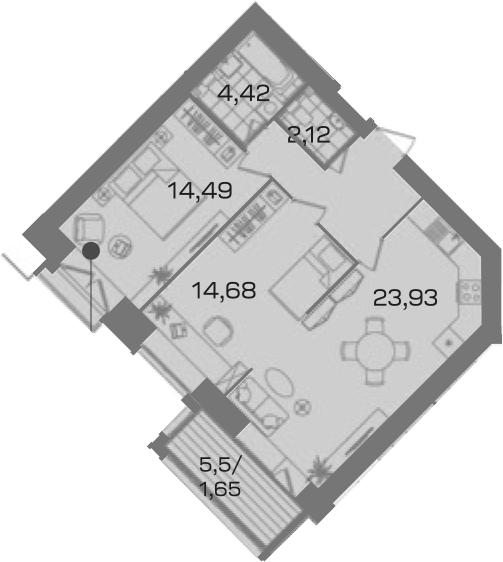 2-комнатная 72 м<sup>2</sup> на 7 этаже