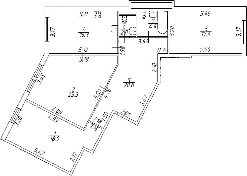 3-комнатная 103 м<sup>2</sup> на 1 этаже