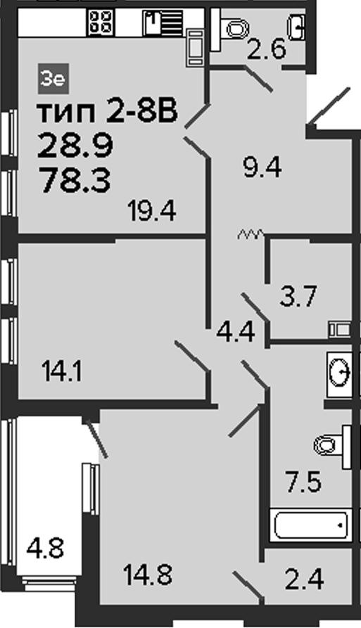 3-комнатная 83 м<sup>2</sup> на 6 этаже