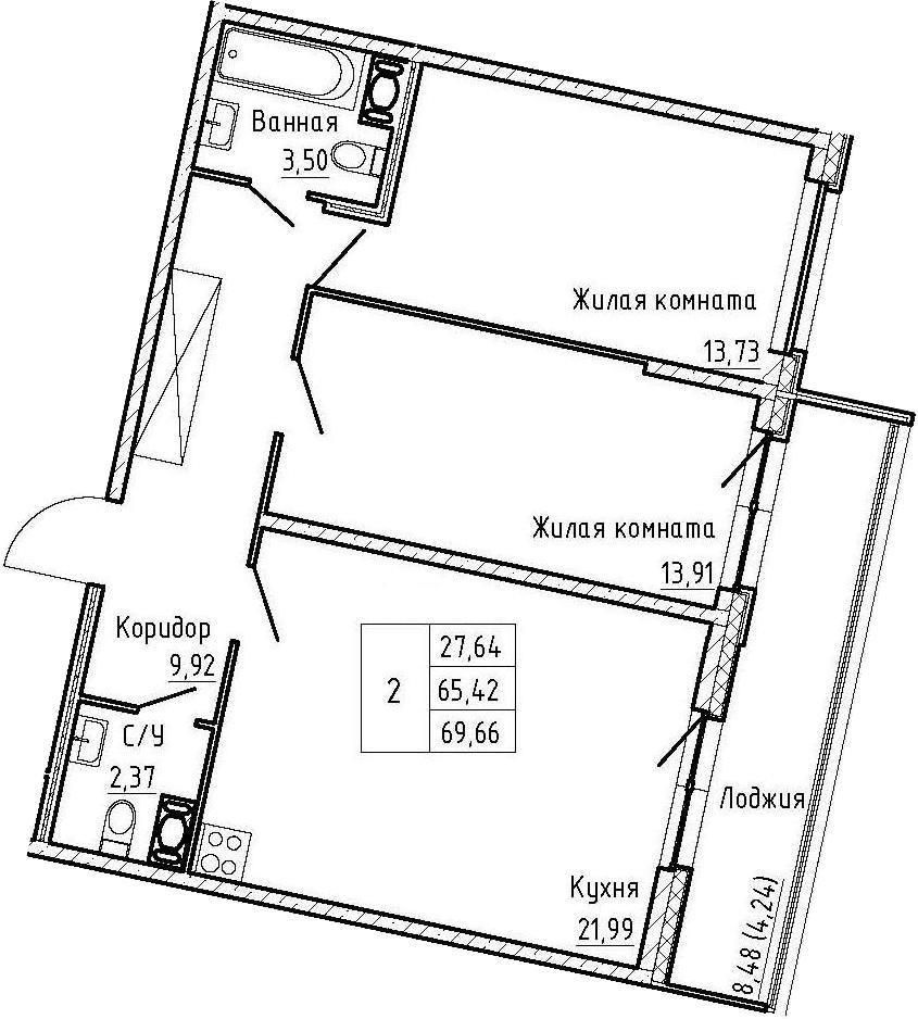 3-комнатная 73 м<sup>2</sup> на 5 этаже