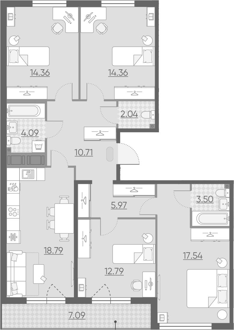 4-комнатная 111 м<sup>2</sup> на 13 этаже