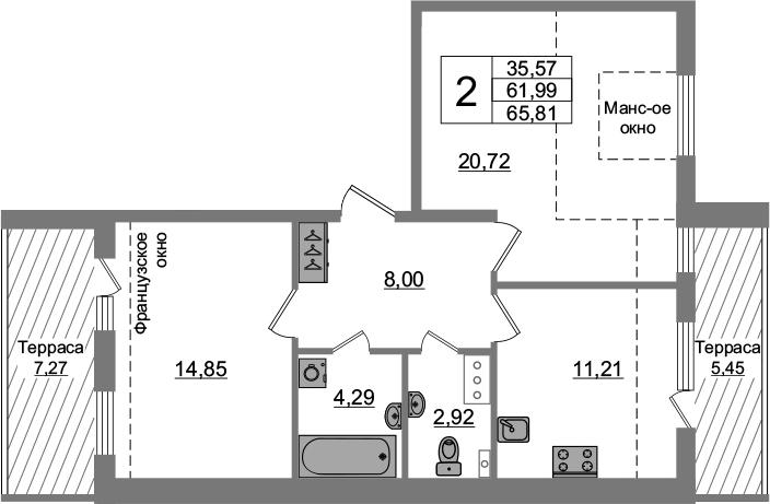 2-комнатная 74 м<sup>2</sup> на 5 этаже