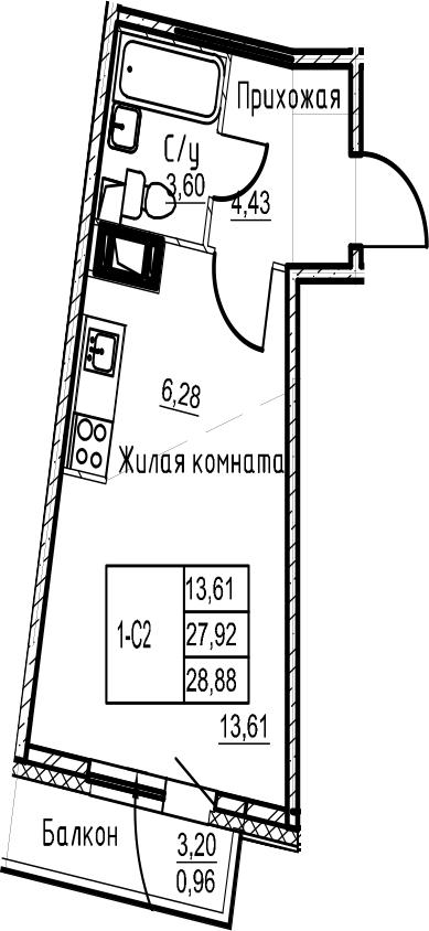Студия 31 м<sup>2</sup> на 17 этаже