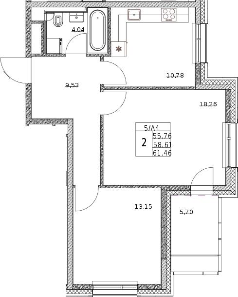 2-к.кв, 62.75 м²