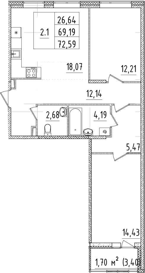 3-комнатная 72 м<sup>2</sup> на 8 этаже