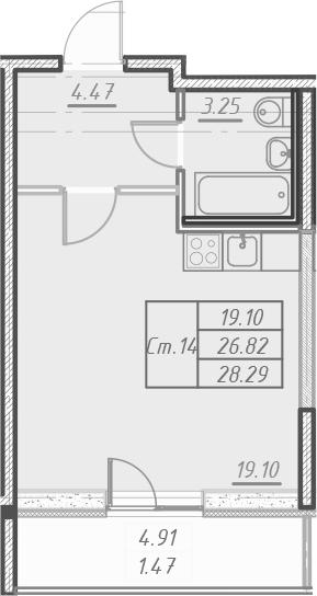 Студия 31 м<sup>2</sup> на 18 этаже