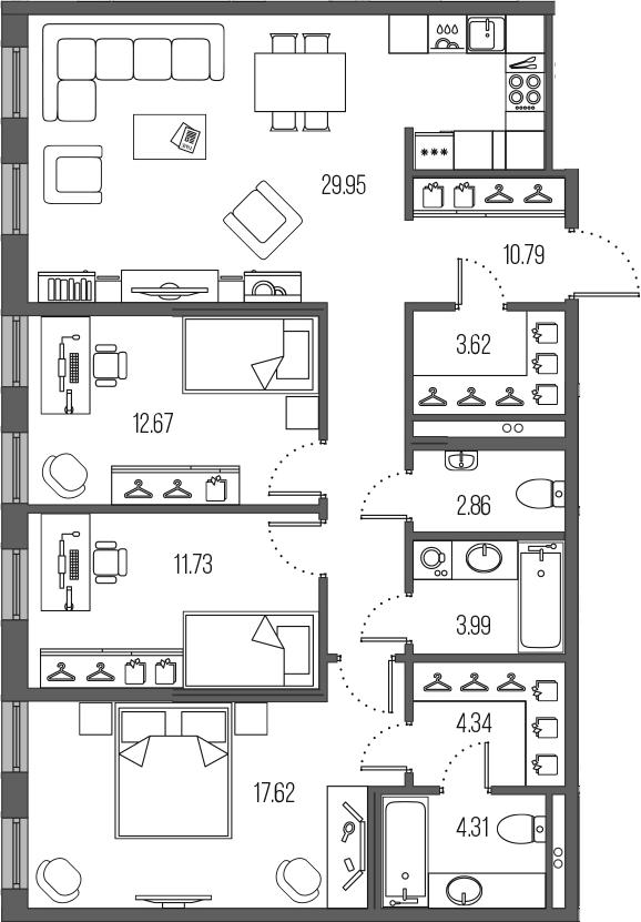 4-комнатная 101 м<sup>2</sup> на 3 этаже