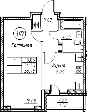 1-комнатная 37 м<sup>2</sup> на 8 этаже