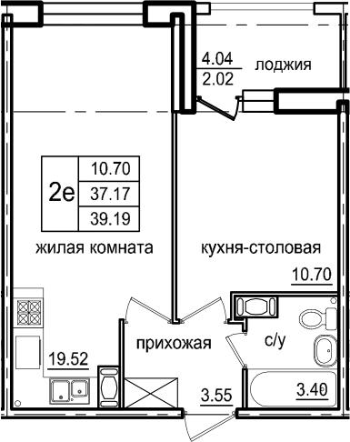 2-комнатная 41 м<sup>2</sup> на 6 этаже