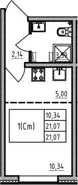 Студия 21 м<sup>2</sup> на 1 этаже