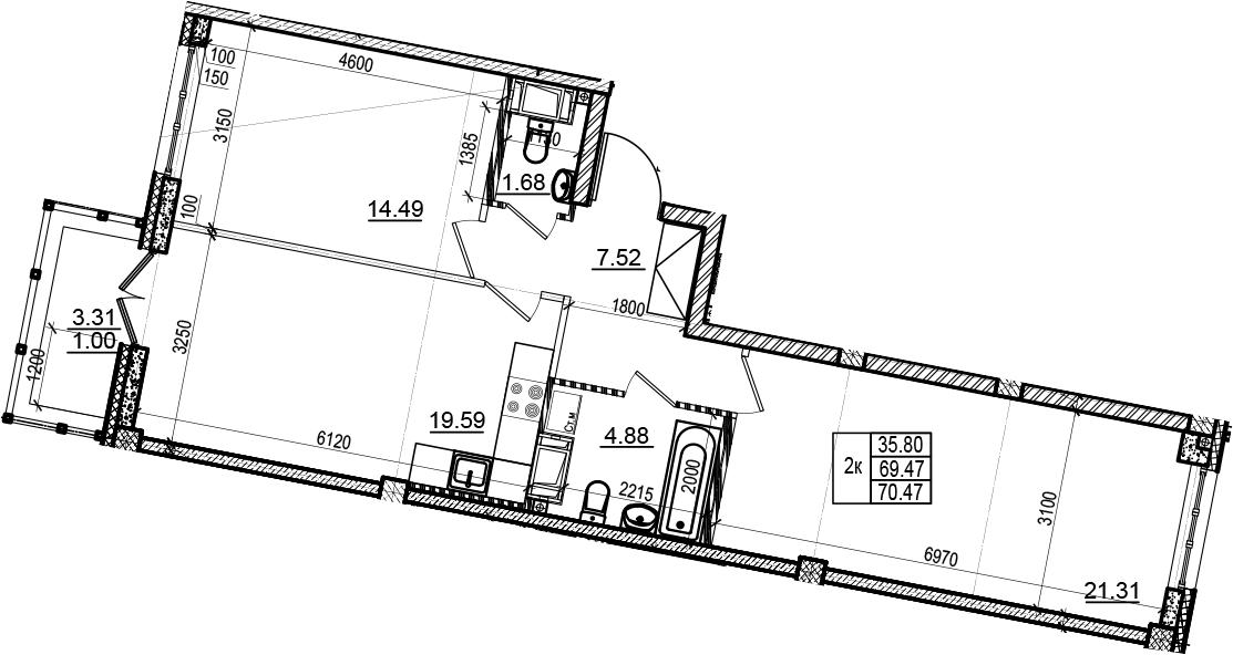 3-комнатная 72 м<sup>2</sup> на 6 этаже