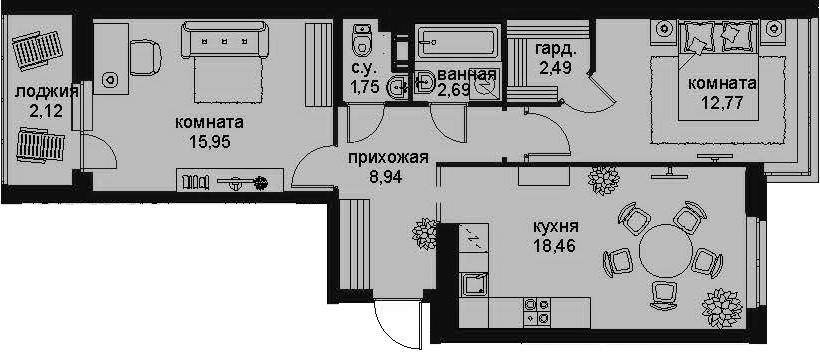 3-к.кв (евро), 67.29 м²