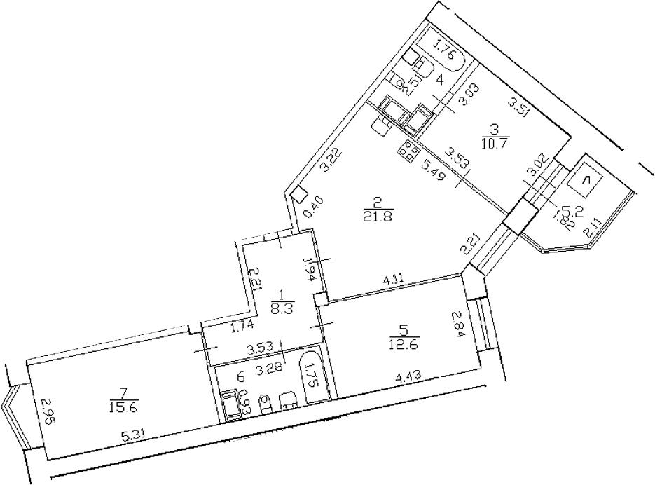 4-комнатная 83 м<sup>2</sup> на 15 этаже