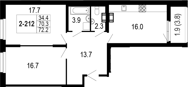 3-комнатная 75 м<sup>2</sup> на 2 этаже