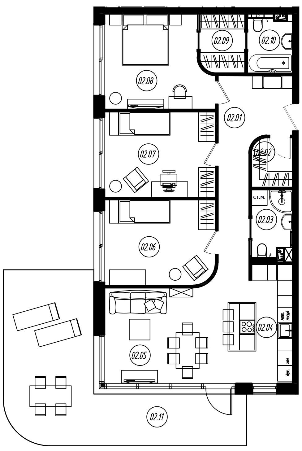 4-комнатная 134 м<sup>2</sup> на 1 этаже