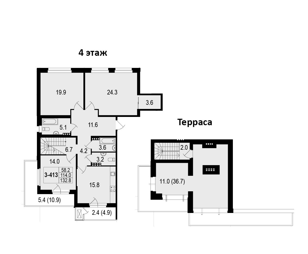 4-комнатная 166 м<sup>2</sup> на 4 этаже