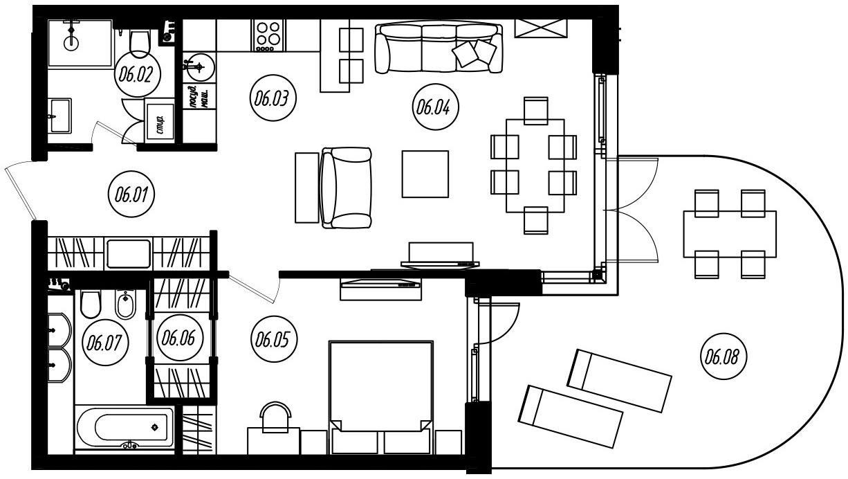 2-комнатная 87 м<sup>2</sup> на 1 этаже