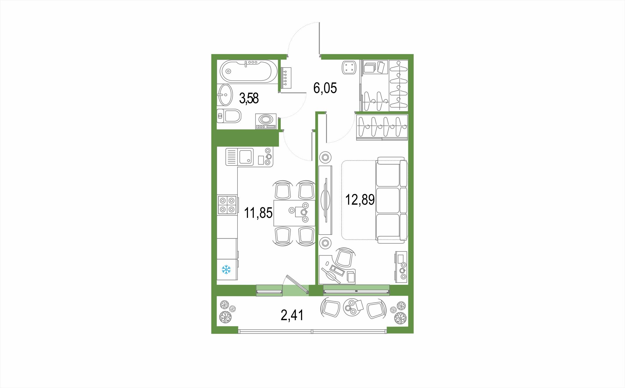 1-комнатная 39 м<sup>2</sup> на 21 этаже