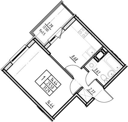 1-комнатная 33 м<sup>2</sup> на 13 этаже
