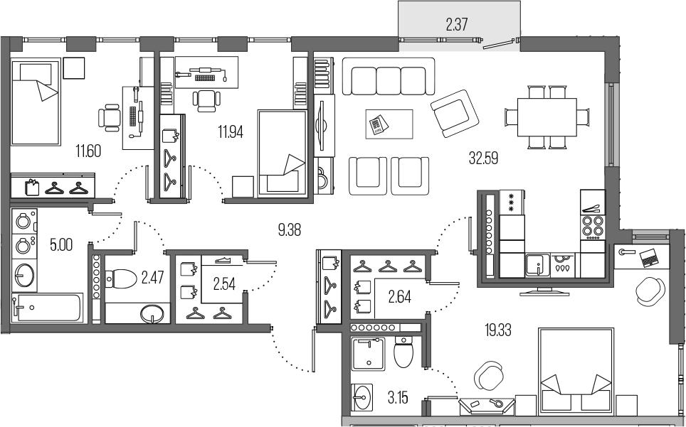 4-комнатная 103 м<sup>2</sup> на 7 этаже