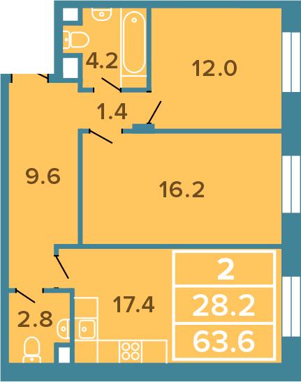 2-к.кв, 63.6 м²