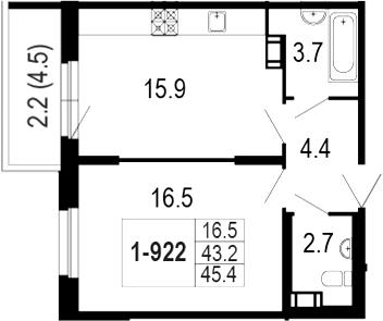 2-комнатная 47 м<sup>2</sup> на 9 этаже