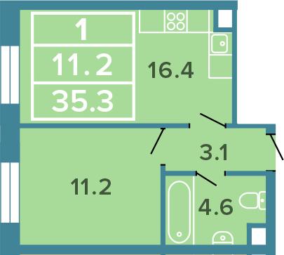 2-к.кв (евро), 35.3 м²