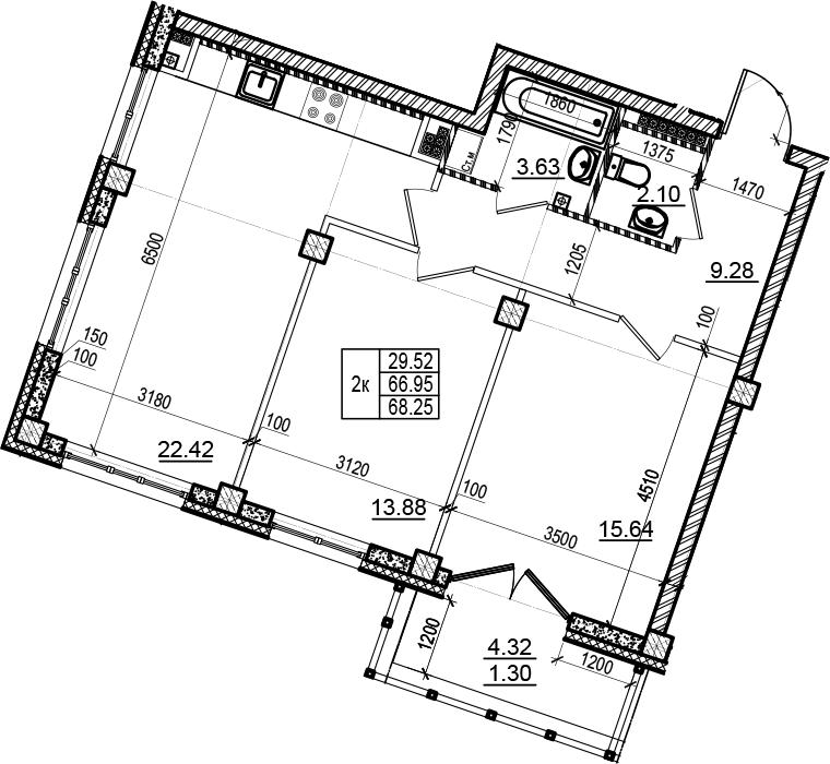 3-комнатная 71 м<sup>2</sup> на 6 этаже
